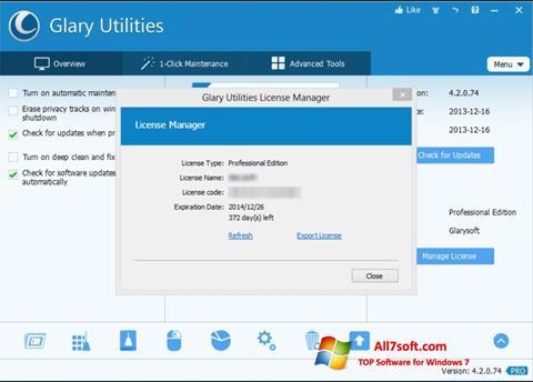 スクリーンショット Glary Utilities Windows 7版