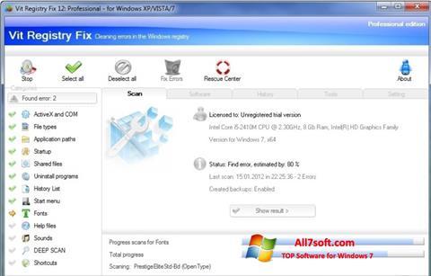 スクリーンショット Vit Registry Fix Windows 7版
