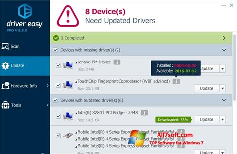 スクリーンショット Driver Easy Windows 7版