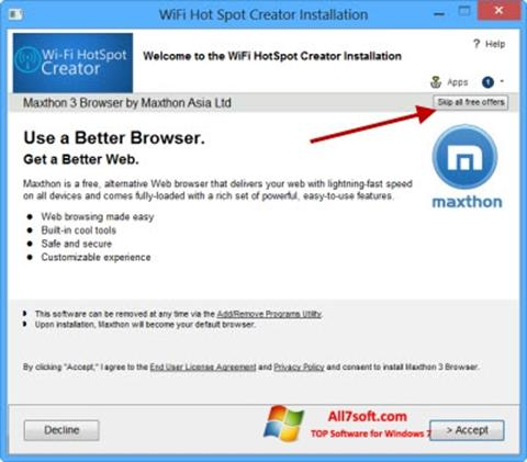 スクリーンショット Wi-Fi HotSpot Creator Windows 7版