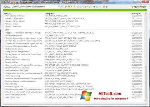 スクリーンショット NVIDIA Inspector Windows 7版