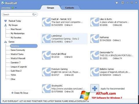 スクリーンショット RaidCall Windows 7版