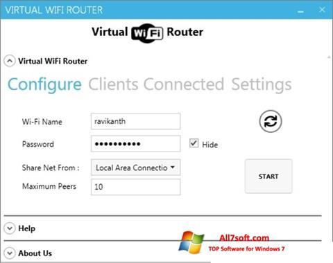 スクリーンショット Virtual WiFi Router Windows 7版