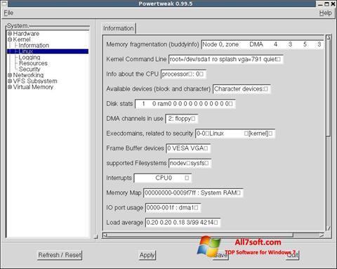 スクリーンショット PowerTweak Windows 7版