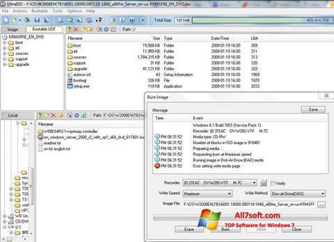 スクリーンショット UltraISO Windows 7版