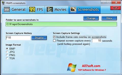 スクリーンショット Fraps Windows 7版