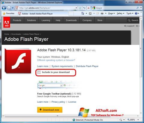 スクリーンショット Adobe Flash Player Windows 7版