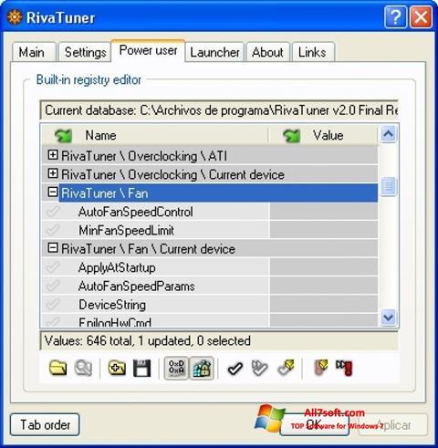 スクリーンショット RivaTuner Windows 7版