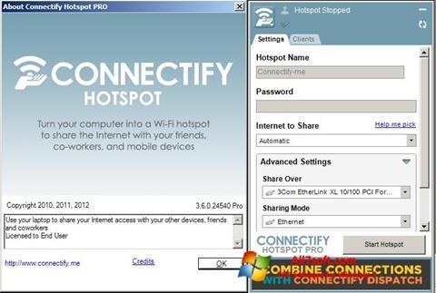 スクリーンショット Connectify Windows 7版