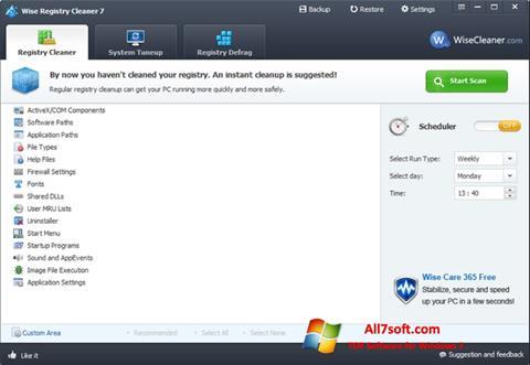 スクリーンショット Wise Registry Cleaner Windows 7版