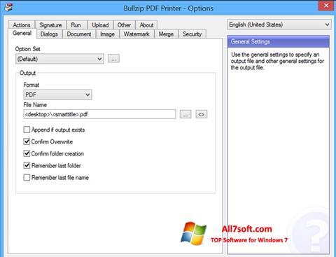 スクリーンショット BullZip PDF Printer Windows 7版