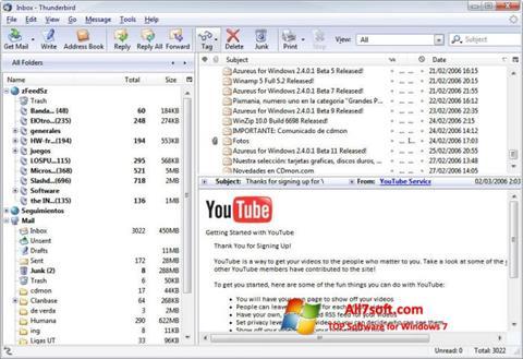 スクリーンショット Mozilla Thunderbird Windows 7版