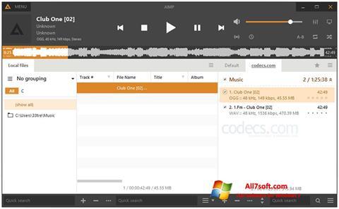 スクリーンショット AIMP Windows 7版