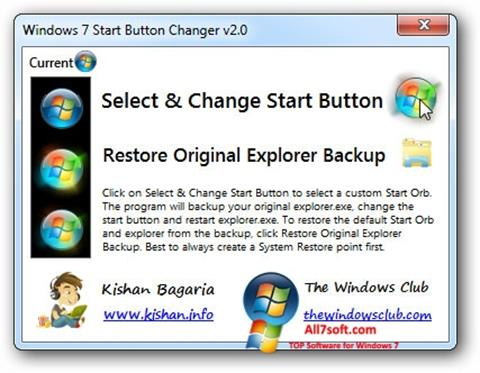 スクリーンショット Windows 7 Start Button Changer Windows 7版
